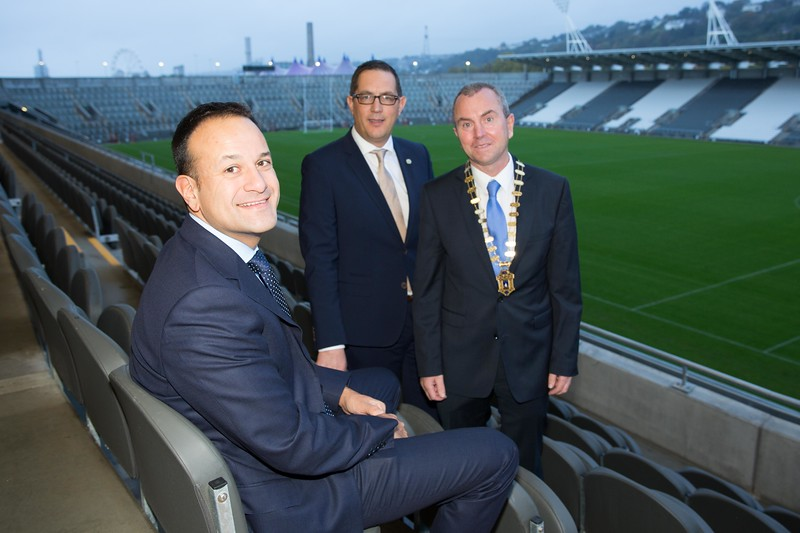 An Taoiseach Leo Varadkar answers Chambers call for M20 route to be completed, at Cork Chamber's Business Breakfast, run in association with the Irish Examiner at Pairc Ui Chaoimh. Pictured with An Taoiseach Leo Varadkar are Conor Healy, CEO, Cork Chamber, Bill O'Connell, President Cork Chamber Pic Darragh Kane