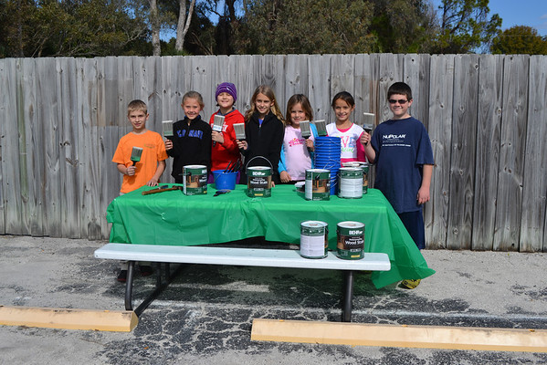 """Student Council """"Staining the Fence"""" Jan 2014"""