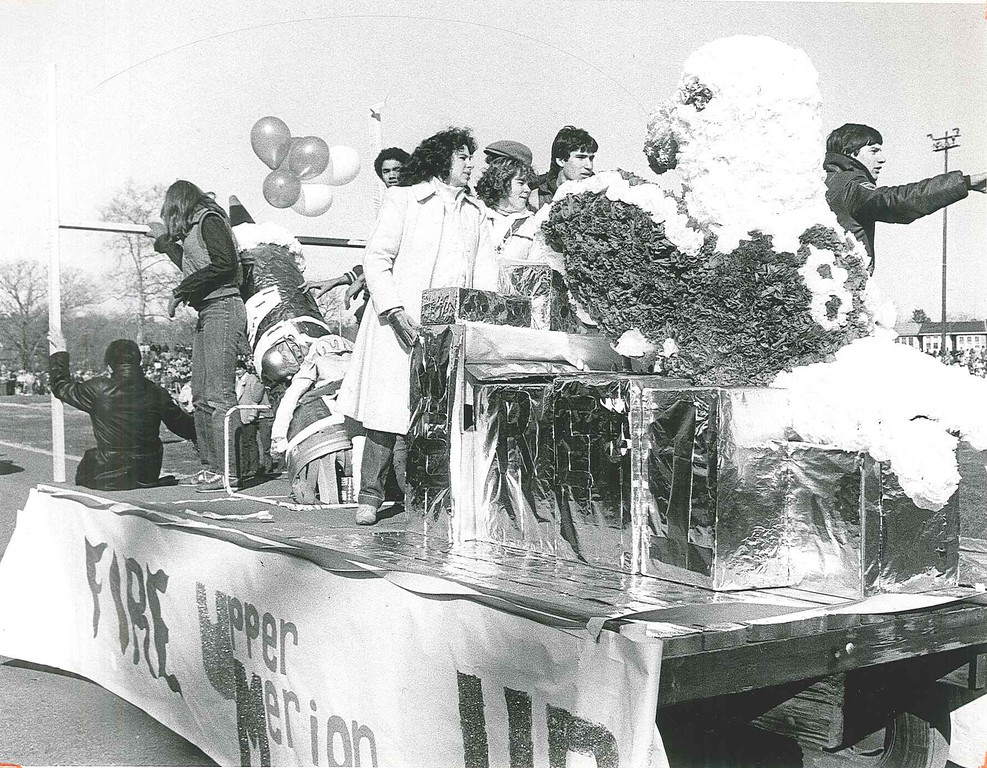 . This Times Herald file photo shows a float in a parade in 1982 with a theme revolving around Norristown\'s Thanksgiving day game against Upper Merion.