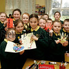 Helping Hands project at St Patricks PS Hilltown, pupils who took part in the project presented by Newry Womens Aid and funded by the Community Partnership. Ann baxter,Martina Shevlin.07W10N8