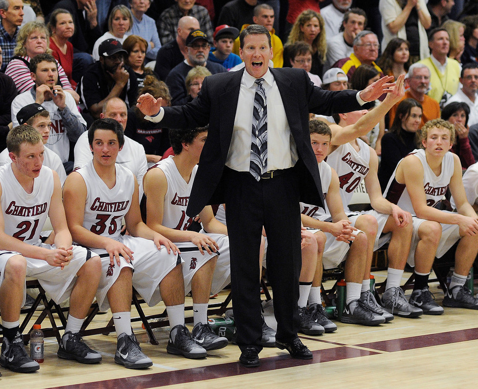 . LITTLETON, CO. - MARCH 6: Chatfield coach Stephen Schimpeler had words for the team in the second half. The Legend High School boy\'s basketball team upset Chatfield 51-49  in a playoff game Wednesday night, March 6, 2013. (Photo By Karl Gehring/The Denver Post)