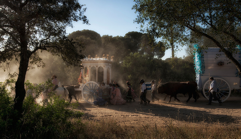 pilgrims on the dusty road to el rocio,andalucia,spain.jpg