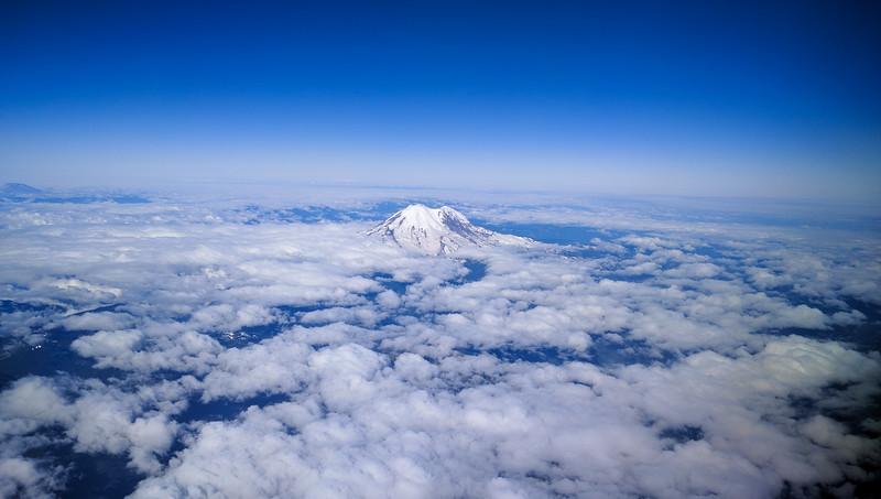 Flying over Mt Ranier