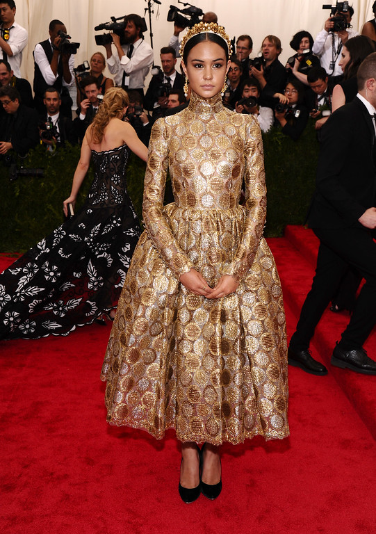 """. Courtney Eaton arrives at The Metropolitan Museum of Art\'s Costume Institute benefit gala celebrating \""""China: Through the Looking Glass\"""" on Monday, May 4, 2015, in New York. (Photo by Charles Sykes/Invision/AP)"""
