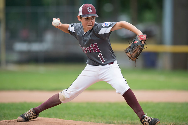 07/11/19 Wesley Bunnell | Staff Southington South Little League was defeated by Farmington on Thursday evening at Carl Verderame Memorial Field in Southington. Brycen Voisine (1).