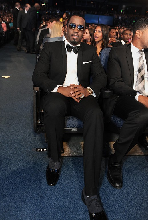""". Sean \""""P. Diddy\"""" Combs poses in the audience at the ESPY Awards on Wednesday, July 17, 2013, at Nokia Theater in Los Angeles. (Photo by Jordan Strauss/Invision/AP)"""