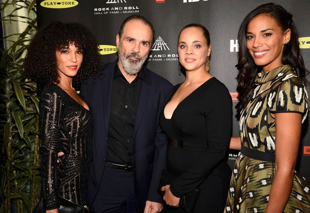 . The family of inductee Donna Summer, daughter Brooklyn Sudano (L), husband Bruce Sudano and daughters Mimi Dohler and Amanda Sudano Ramirez (R), arrives at the 2013 Rock and Roll Hall of Fame induction ceremony in Los Angeles April 18, 2013.   REUTERS/Phil McCarten