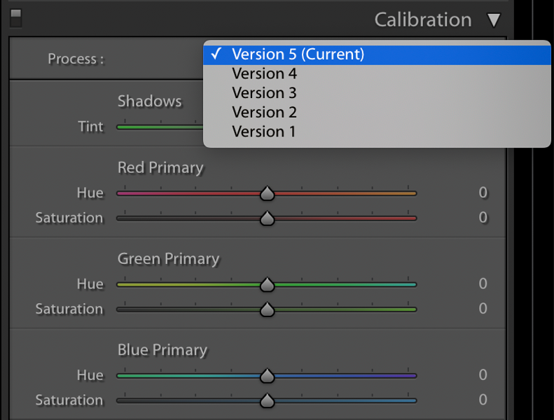 Process Version Selection as of mid-2020 in Lightroom's Calibration Panel