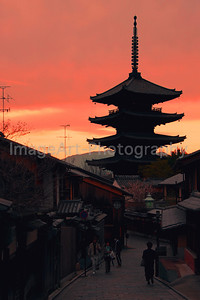 Kyoto Pagoda at sunset