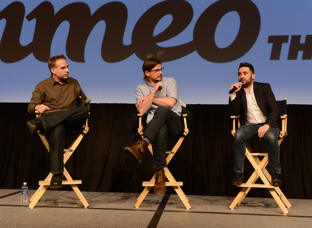 """. Los Angeles Bureau Chief of TV Guide Magazine Michael Schneider, actor Josh Hartnett and director Juan Antonio Bayona do a Q&A at SHOWTIME\'S \""""Penny Dreadful\"""" First-Look Screening At SXSW on March 9, 2014 in Austin, Texas.  (Photo by Vivien Killilea/Getty Images for SHOWTIME)"""