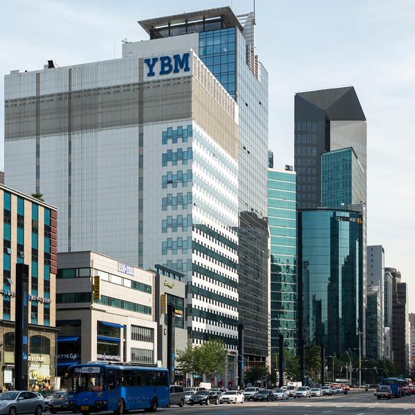 Buildings along street, Seoul, South Korea