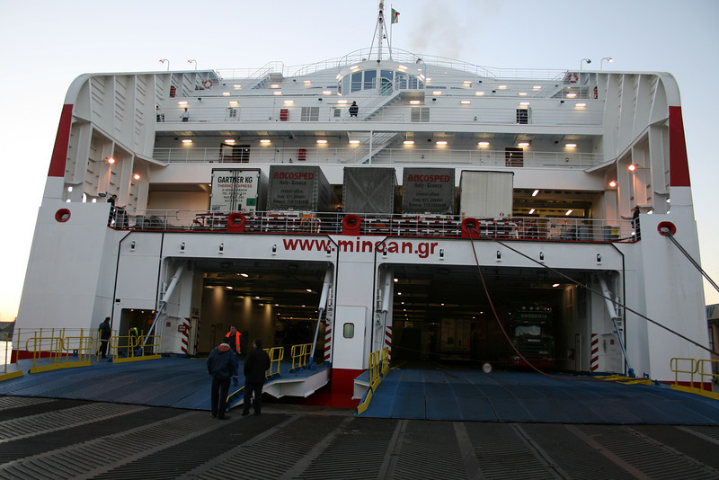 CRUISE OLYMPIA disembarking in Ancona, arrived from Patra - Igoumenitsa.