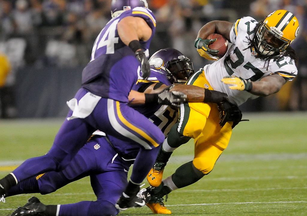 . Green Bay Packers running back Eddie Lacy is stopped by the Vikings defense during the third quarter. (Pioneer Press: Sherri LaRose-Chiglo)