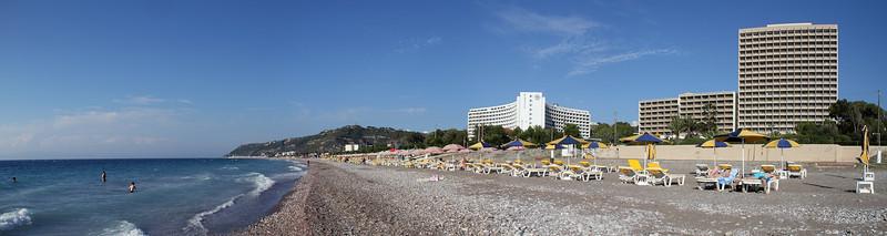 Beach + Rodos Palace Hotel panorama.