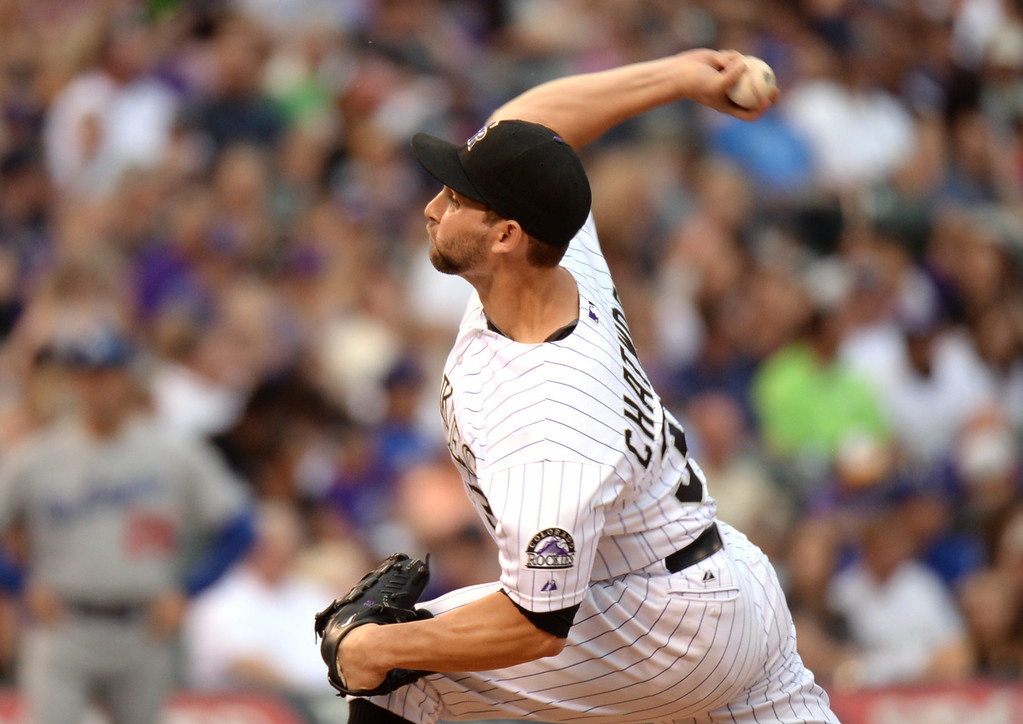 . DENVER, CO. - July 03: Tyler Chatwood of Colorado Rockies pitched 5 innings against Los Angeles Dodgers at Coors Field. Denver, Colorado. July 3, 2013. (Photo By Hyoung Chang/The Denver Post)