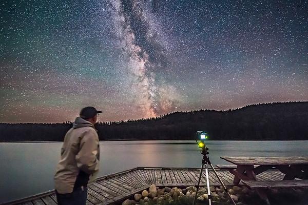 Selfie at Reesor Lake with Milky Way (Landscape)