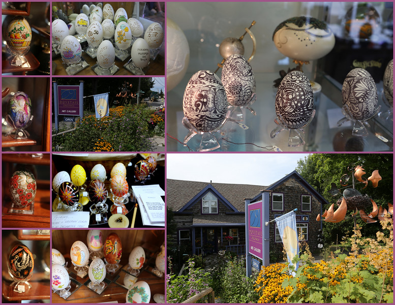A restored cabin home is now the Dovetail Gallery.  Some of the world's most intricate and refined egg art.