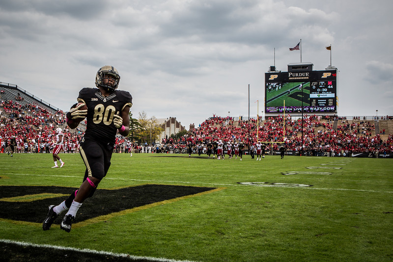 David Yancey (80) celebrates a touchdown catch in the fourth quarter of the Big Ten Conference game between the Purdue Boilermakers and the Nebraska Cornhuskers on October 12, 2013