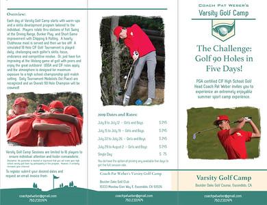 Coach Pat Weber's Varsity Golf Camp at Boulder Oaks Golf Club