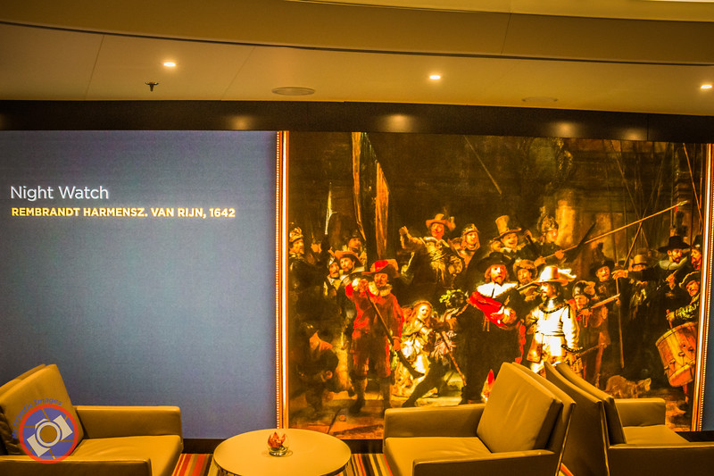 Enlarged Image of Night Watch by Rembrandt from the Collection at the Rijksmuseum in Amsterdam Projected on a Screen in the Guest Service Area Aboard the Westerdam (©simon@myeclecticimages.com)