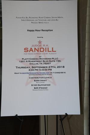9-27-2018 Judge Sandill for Texas Supreme Court Reception