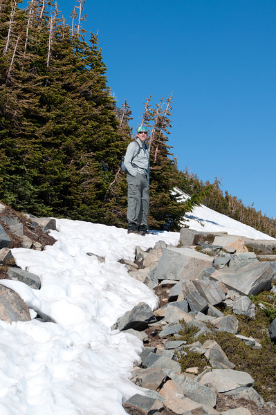 Climbing another ridge looking for a place to glisade on the way back.