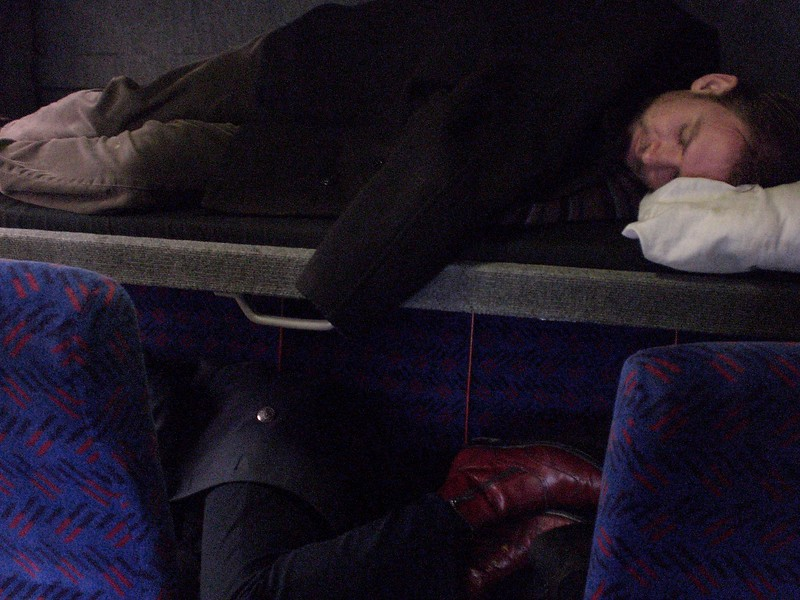 Steve Elkins and Matthew Kelly on the tour bus somewhere in Scotland.