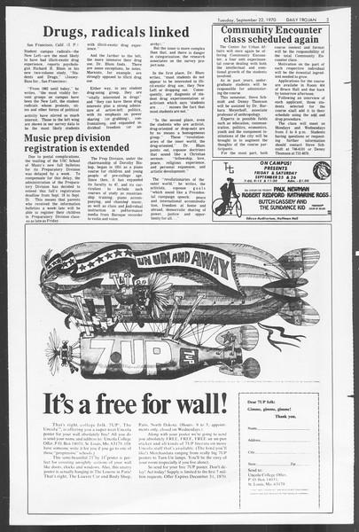 Daily Trojan, Vol. 62, No. 2, September 22, 1970