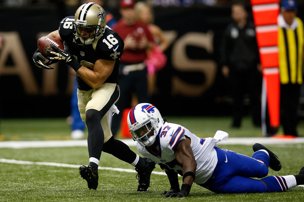 . Lance Moore #16 of the New Orleans Saints catches a touchdown pass over  Nickell Robey #37 of the Buffalo Bills at Mercedes-Benz Superdome on October 27, 2013 in New Orleans, Louisiana.  (Photo by Chris Graythen/Getty Images)