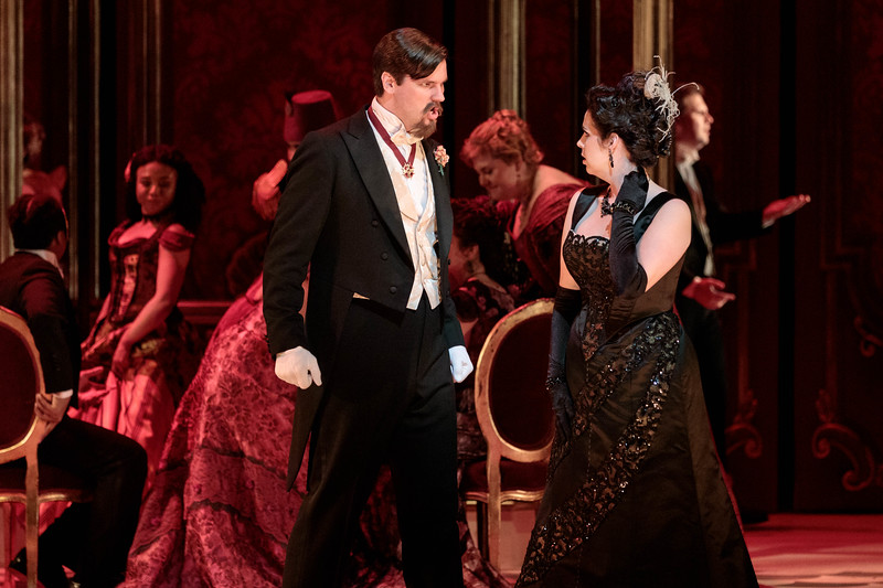 "Jonathan Bryan as Baron Douphol and Amanda Woodbury as Violetta in The Glimmerglass Festival's 2019 production of ""La traviata."" Photo: Karli Cadel/The Glimmerglass Festival"