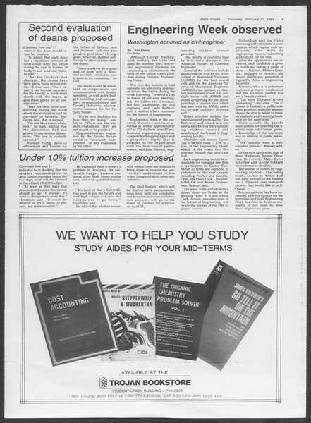 Daily Trojan, Vol. 95, No. 31, February 23, 1984