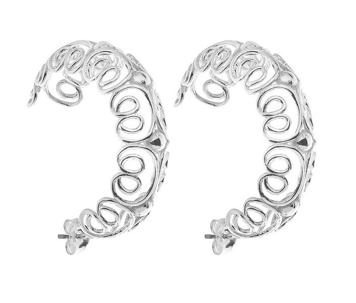 Pearl/vintage big hoop ear - Silver