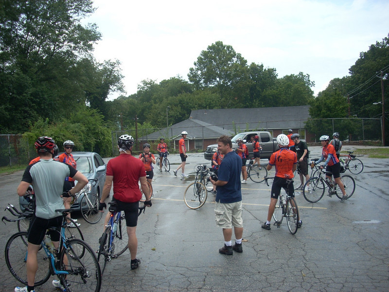 09 08-01 Fuller Center Atlanta board member Jeff Mitchell with riders.. jm