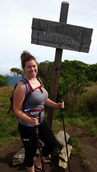 My litttle hiker girl on her third summit of the trip. Roan High Knob - 6285' Round Bald - 5826' Jane Bald - 5807'