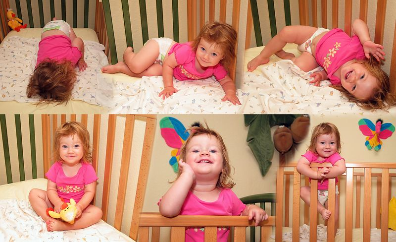 9/1 - Waking up from a nap. She is sleeping on the first picture, clinbing out of her crib 6 minutes later on the last one.