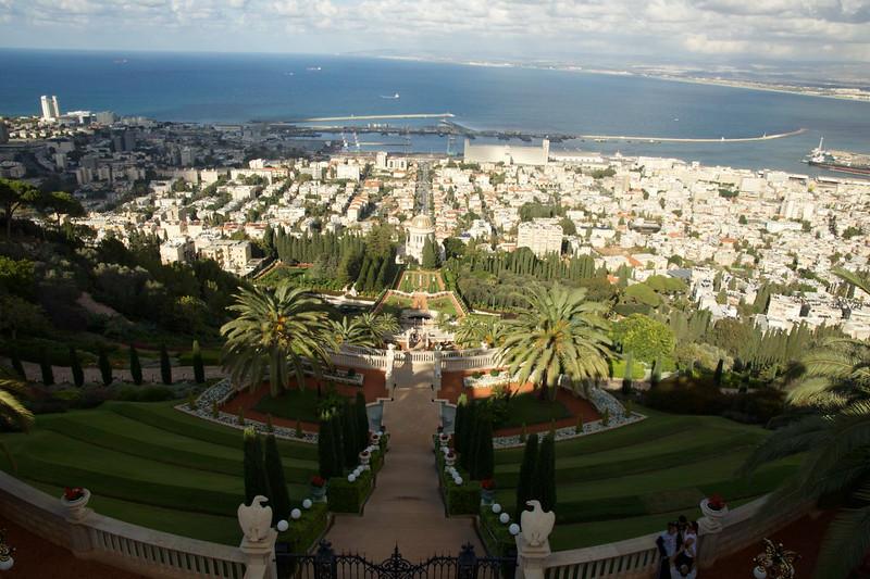 View of Haifa Harbor from Baha'i World Center