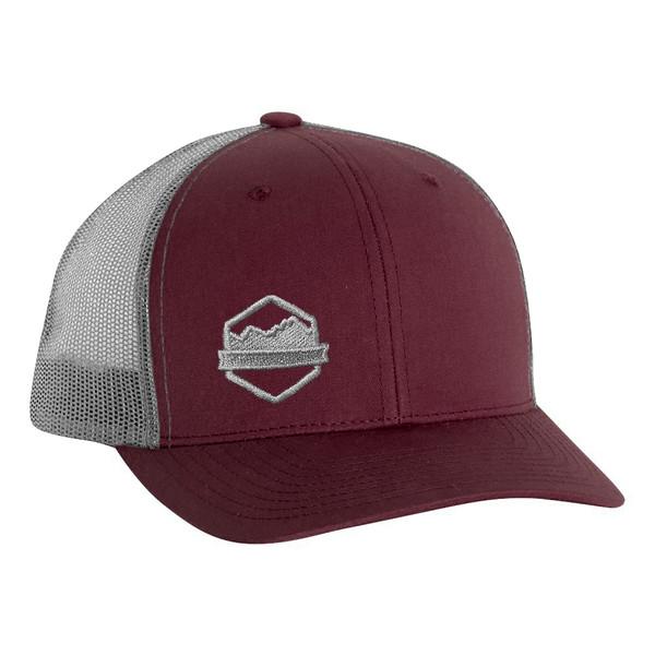 Organ Mountain Outfitters - Outdoor Apparel - Hat - Logo Retro Trucker Cap - Maroon Grey.jpg
