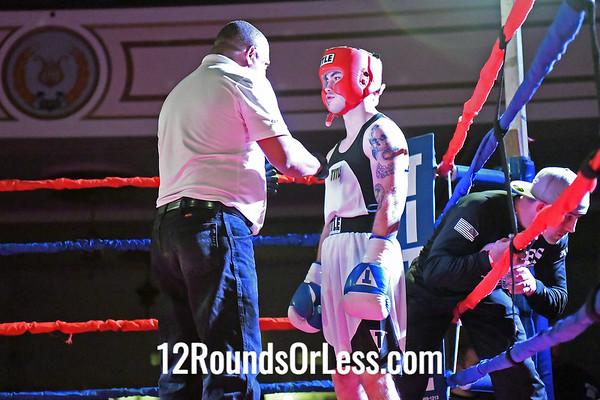 Bout 2:  Corey Breckner, Blue Gloves, Ares Combat, Boardman, OH  vs.  Anthonyh Kirksey, Red Gloves, Adrenaline Academy, Sandusky, OH