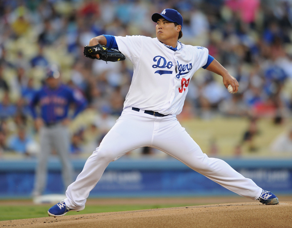 . Dodger pitcher Hyun-Jin Ryu. The Dodgers played the New York Mets in a game at Dodger Stadium in Los Angeles, CA. 8/13/2013(John McCoy/LA Daily News)