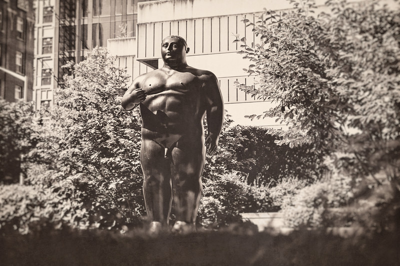"""""""Adam"""" a sculpture by Fernando Botero in Seattle. Added a texture overlay."""