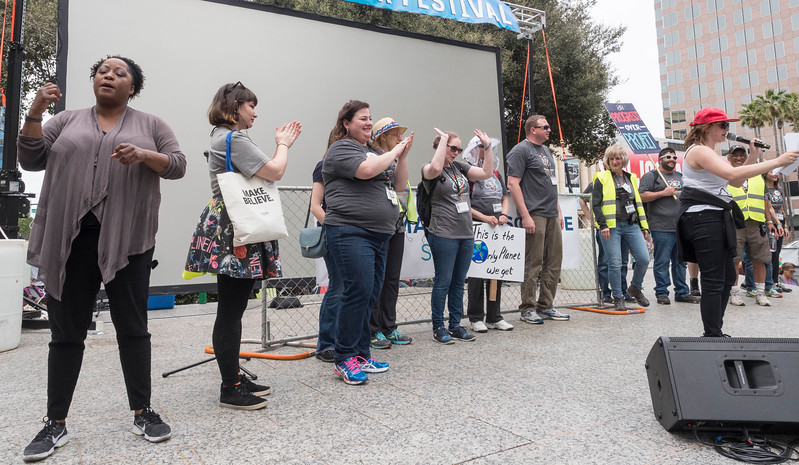 The march organizers take a bow