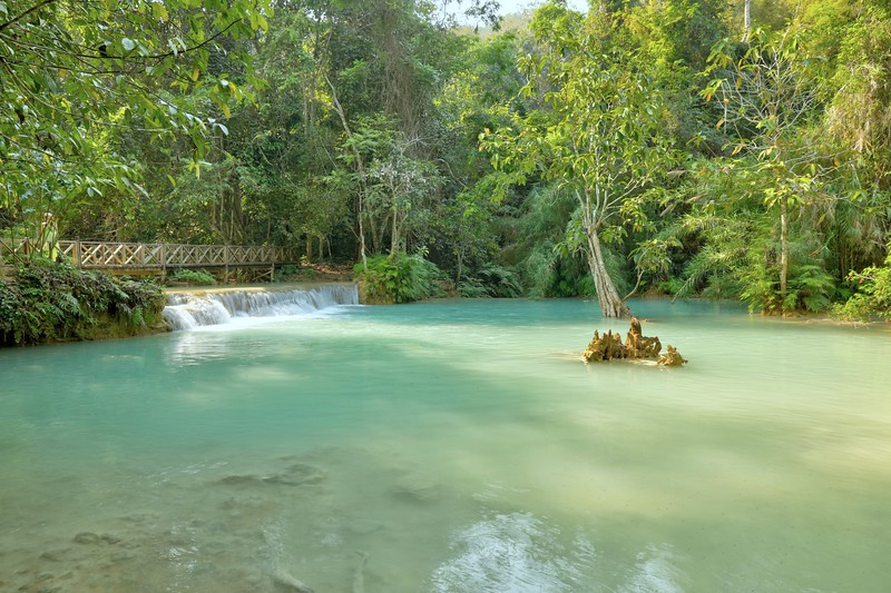 Kuang Si waterfalls, located about 18 miles southwest of Luang Prabang, Laos