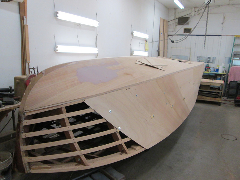Front starboard view of plywood skin.