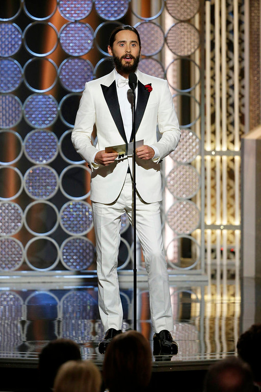 . In this image released by NBC, Jared Leto presents an award at the 72nd Annual Golden Globe Awards on Sunday, Jan. 11, 2015, at the Beverly Hilton Hotel in Beverly Hills, Calif. (AP Photo/NBC, Paul Drinkwater)