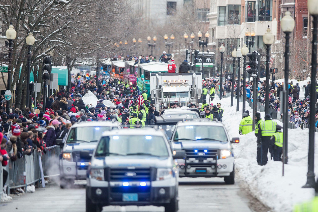 . The New England Patriots victory parade makes it way down Boylston St. on February 4, 2015 in Boston, Massachusetts. (Photo by Scott Eisen/Getty Images)