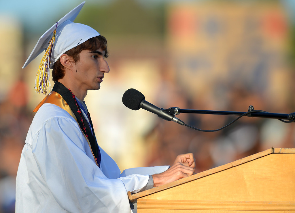 . Salutatorian Sina Djoo. Norwalk High School\'s graduating class of 2014 goes through their commencement ceremony at Excelsior High School\' football stadium in Norwalk, CA on Tuesday, June 17, 2014. (Photo by Scott Varley, Daily Breeze)