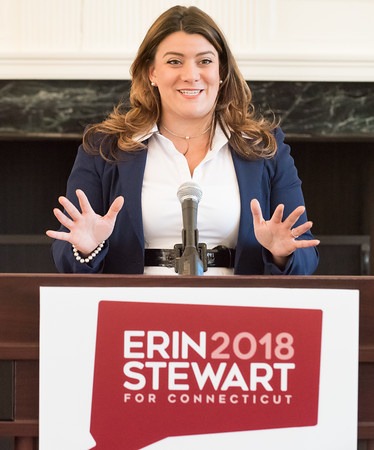 03/19/18 Wesley Bunnell   Staff New Britain Mayor Erin Stewart addresses attendees at CCSU's Founders Hall on Monday at noon as she officially announced her candidacy for CT Governor for the 2018 election.