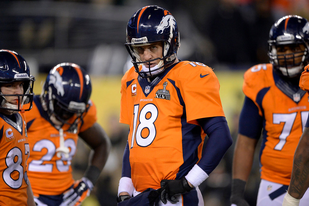 . Denver Broncos quarterback Peyton Manning (18) during the fourth quarter. The Denver Broncos vs the Seattle Seahawks in Super Bowl XLVIII at MetLife Stadium in East Rutherford, New Jersey Sunday, February 2, 2014. (Photo by John Leyba/The Denver Post)