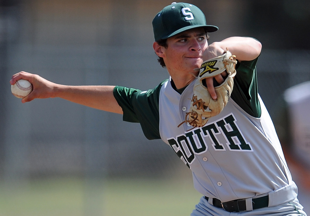 . South (Torrance) starting pitcher Matt Mogollon throws to the plate in the first inning of a CIF-SS prep second round playoff baseball game against Northview at Northview High School on Tuesday, May 21, 2013 in Covina, Calif. Northview won 5-4.  (Keith Birmingham Pasadena Star-News)