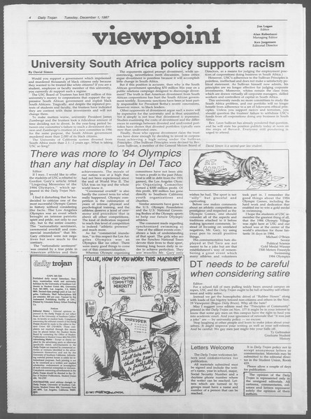 Daily Trojan, Vol. 105, No. 60, December 01, 1987
